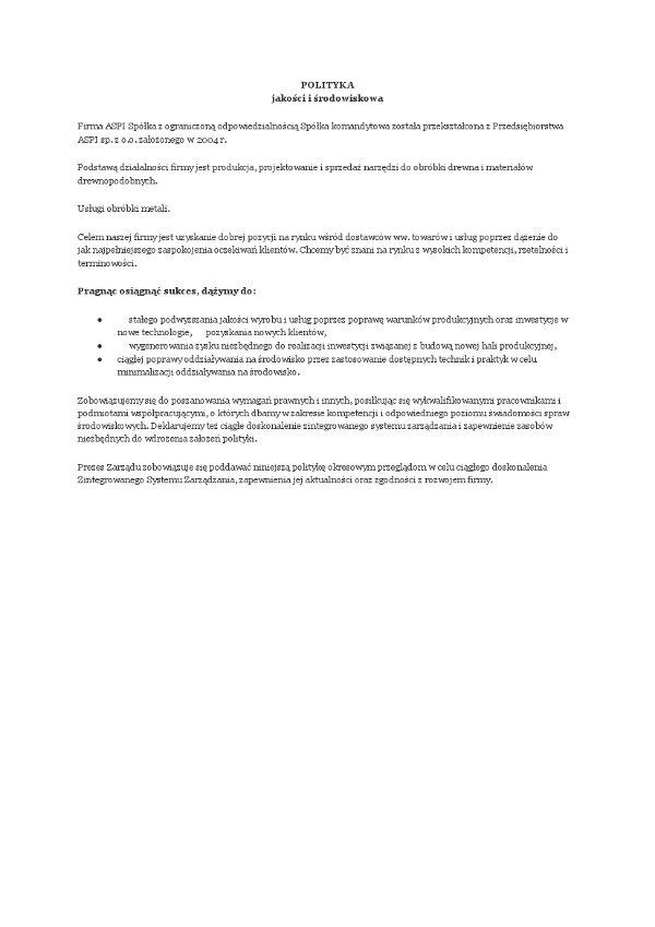 Kvalitets- og miljøpolitikk